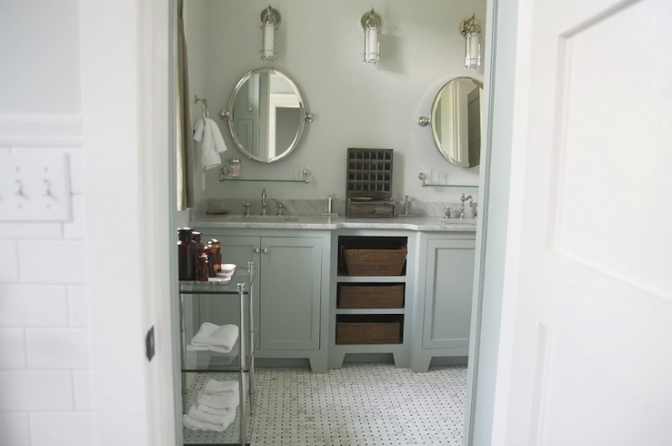 Gray Green Cabinets - Cottage - Bathroom - Urban Grace regarding Green And Gray Bathroom