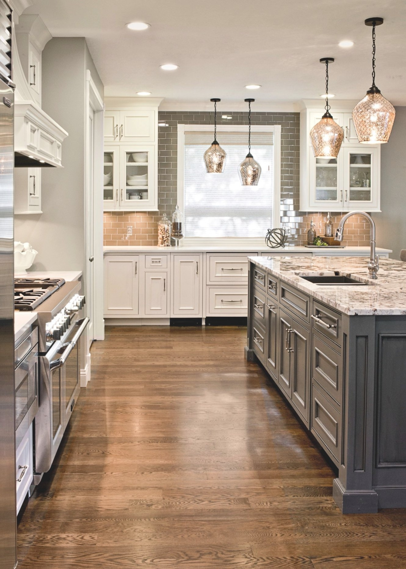 Gray Island And White Cabinets. Granite Top. White Oak with White And Gray Kitchens