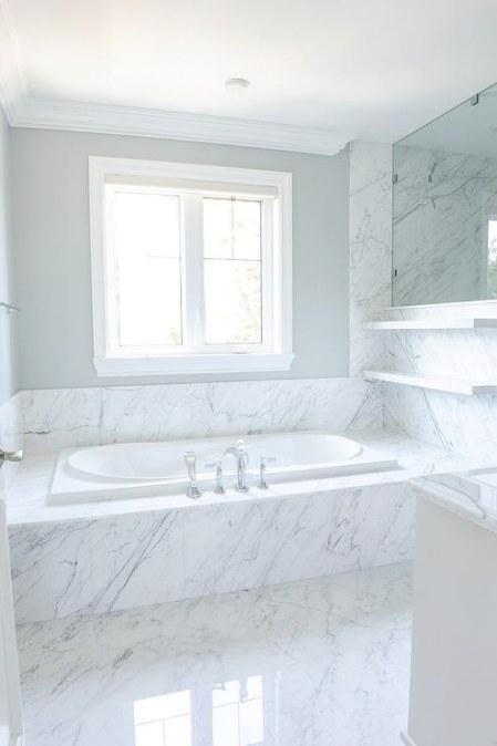 Gray Wainscoted Tub Flankedbuilt Ins - Contemporary inside Crown Moulding In Bathroom