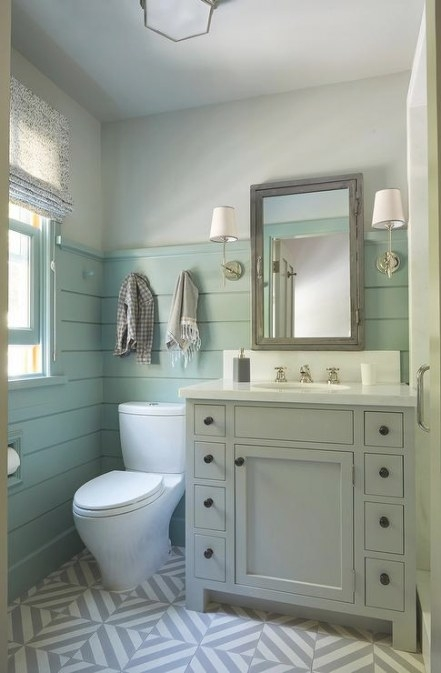 Gray Washstand With Green Shiplap Trim - Cottage - Bathroom pertaining to Green And Gray Bathroom