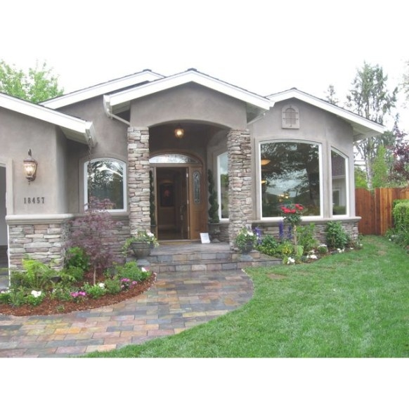 Gray, White And Stone | Stucco Homes, Exterior House inside Stucco And Stone Homes