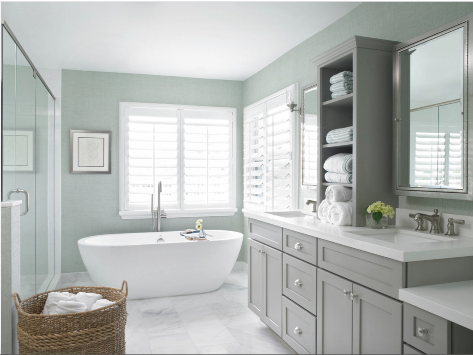 Grey Master Bath Cabinets | Benjamin Moore Cliffside Gray for Green And Gray Bathroom