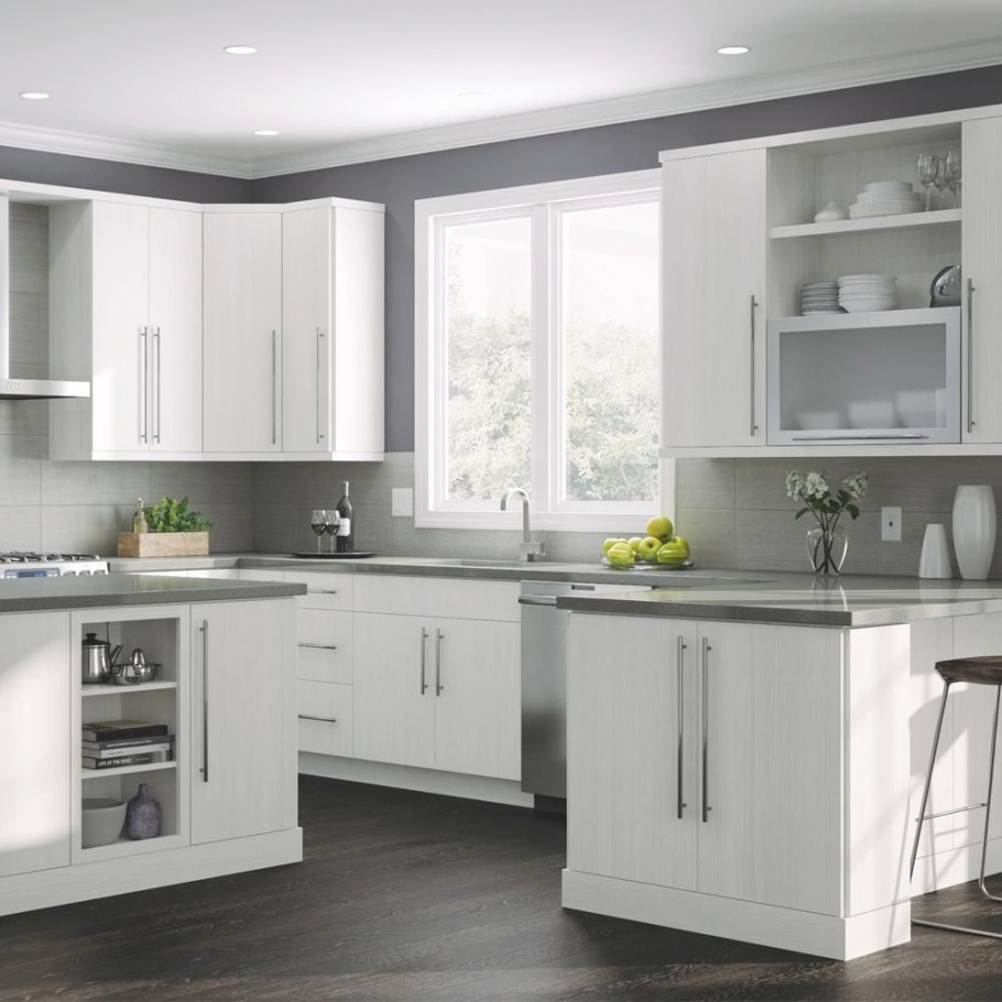 Hampton Bay Designer Series Edgeley Assembled 18X30X12 In throughout White And Gray Kitchens