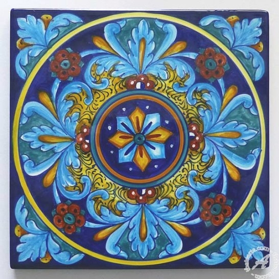 Hand Painted Italian Tile 05, Backsplash, Wall – Thatsarte intended for Italian Tile Backsplash Kitchens