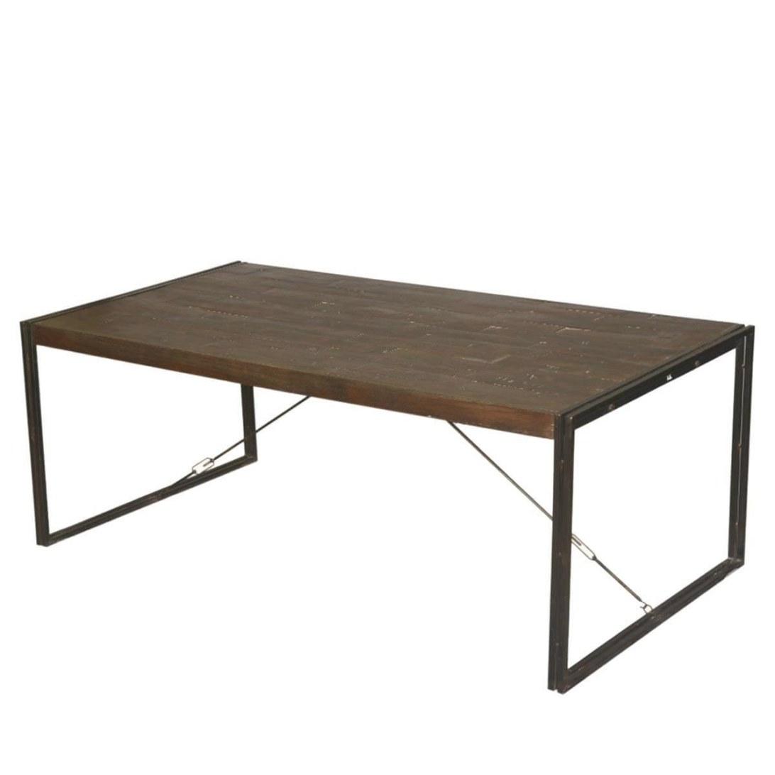 "Hankin Industrial Mango Wood & Iron Modern 79"" Dining Table for Mango Wood Dining Table"