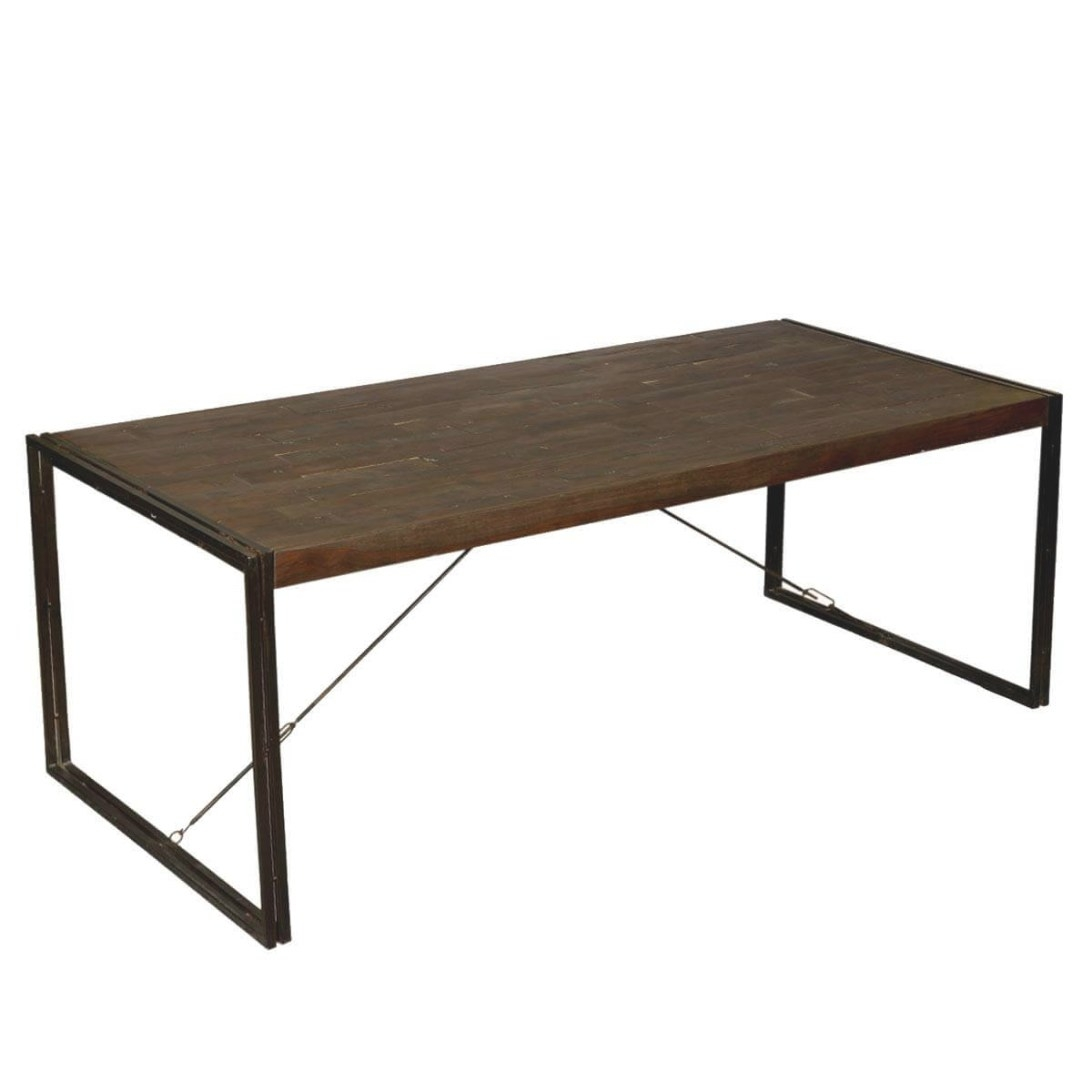 "Hankin Industrial Mango Wood & Iron Modern 79"" Dining Table with Mango Wood Dining Table"