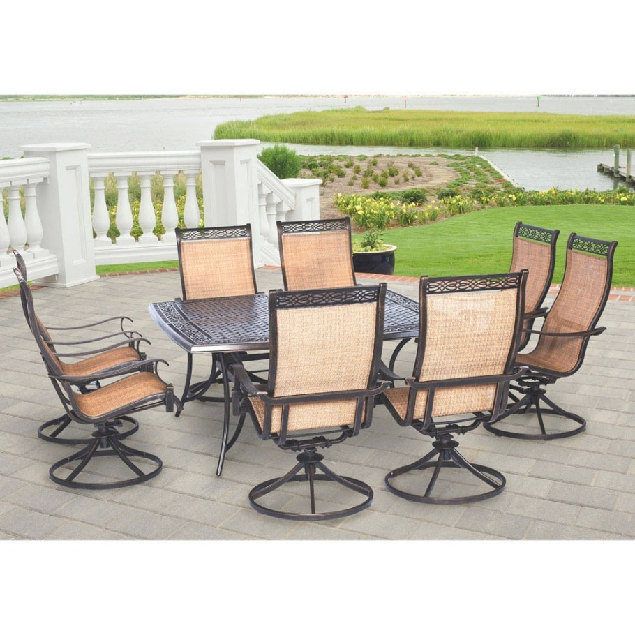 Hanover Manor 9-Piece Outdoor Dining Set With Large Square T inside 9 Piece Dining Set