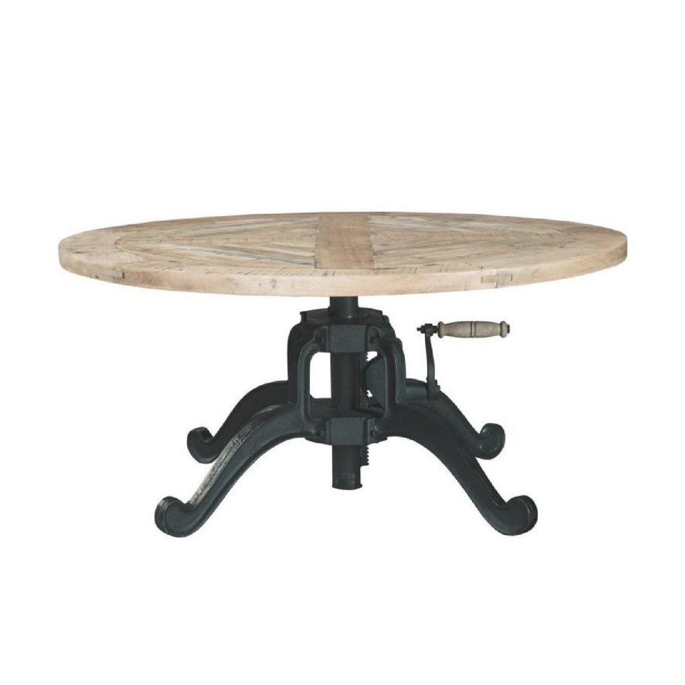 Height Adjustable Round Coffee Table W/ Crank Handle - Aptdeco regarding Adjustable Height Coffee Table