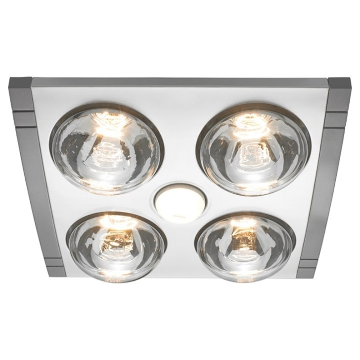 Heller 4 X 275W Led Silver Mason 3In1 Bathroom Heater within Heat Lamps In Bathrooms