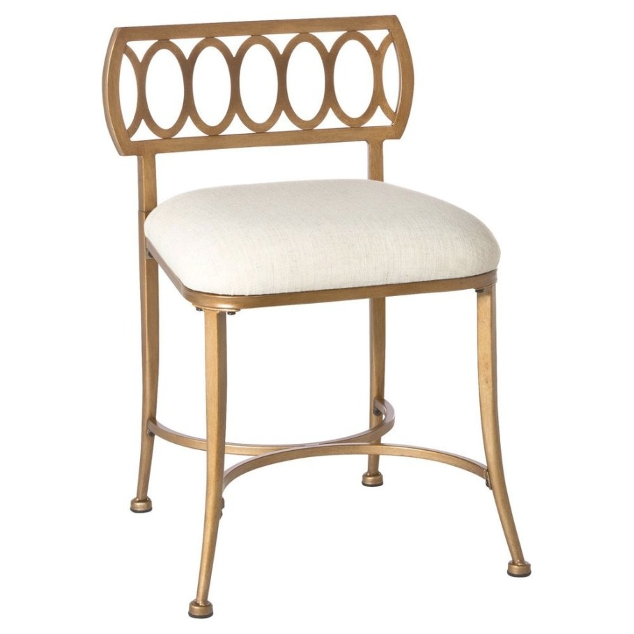 Hillsdale Canal Street Vanity Stool Gold Bronze Cream for Vanity Seats For Bathrooms