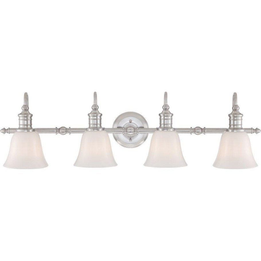 Home Decorators Collection Broadway 4-Light Brushed Nickel throughout Bathroom Vanity Lights Brushed Nickel