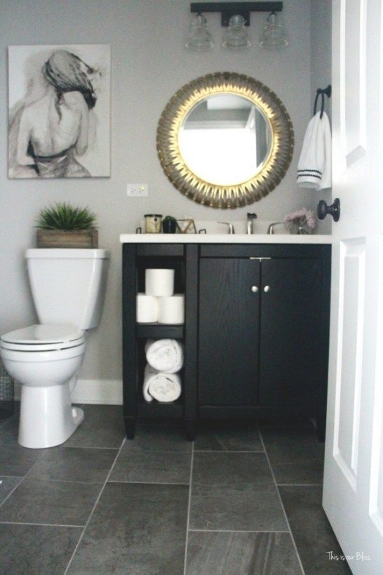 How To Create A Neutral Glam Basement Bathroom | Black throughout Black And Gray Bathroom