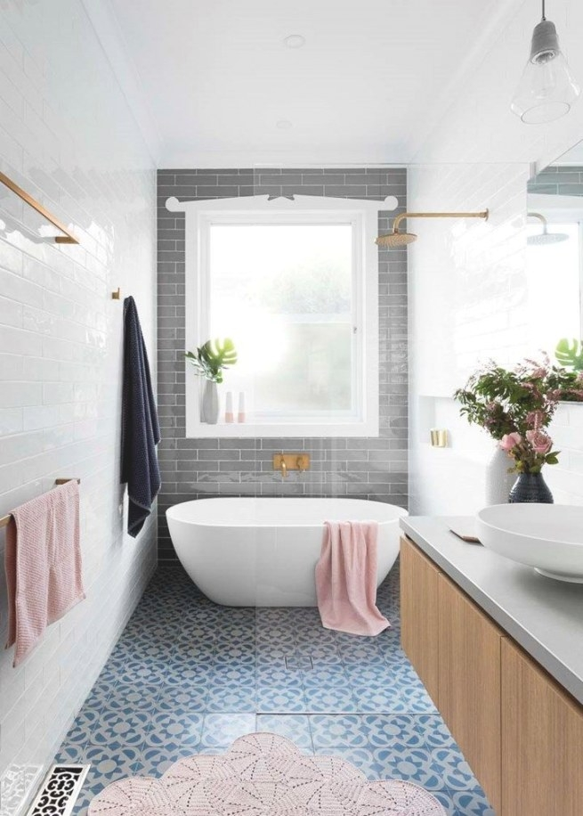 Idée Décoration Salle De Bain - Narrow Bathroom, Love The intended for Pink And Gray Bathroom