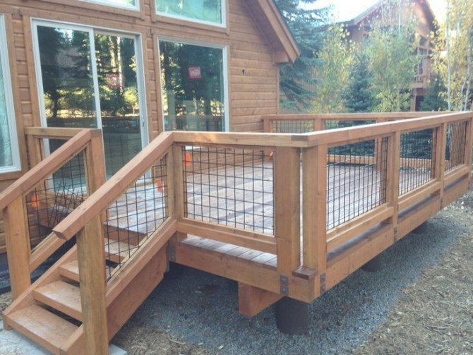 Image Result For Deck Railings Tahoe (With Images) | Diy pertaining to Hog Wire Deck Railing