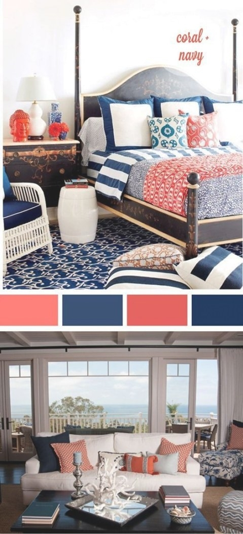 Ina'S Place Invitations & Party Supplies: Home Decor Color pertaining to Navy And Coral Bedroom