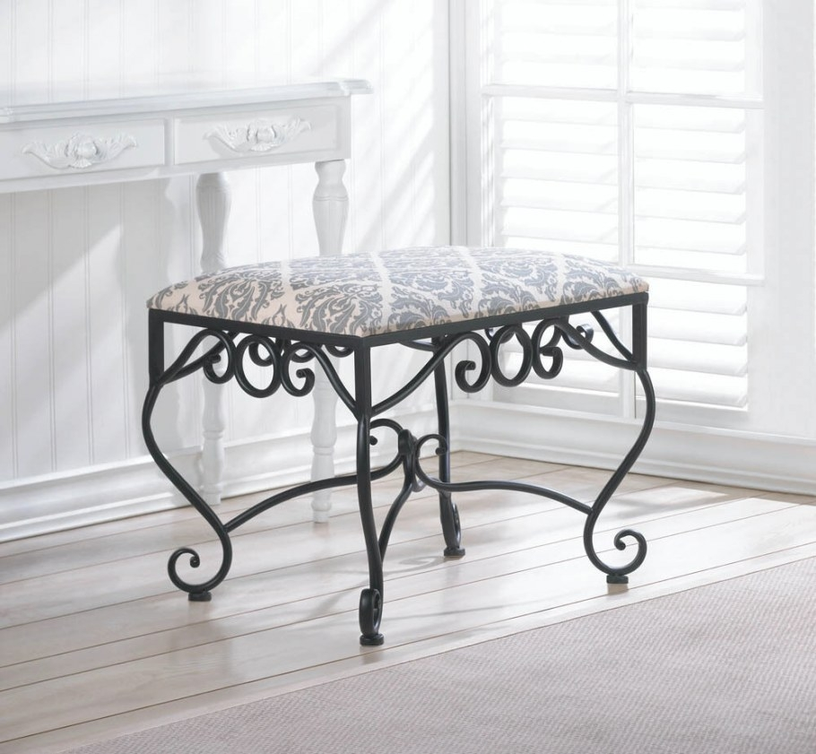 "Iron Scroll 24"" Extra Wide Padded Cushion Sturdy Bench with regard to Vanity Seats For Bathrooms"
