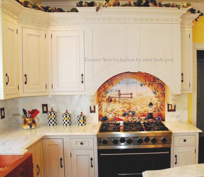 Italian Tile Murals - Tuscany Backsplash Tiles inside Italian Tile Backsplash Kitchens