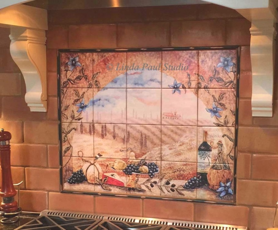Italian Tile Murals - Tuscany Backsplash Tiles intended for Italian Tile Backsplash Kitchens