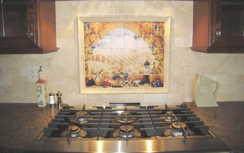 Italian Tile Murals - Tuscany Backsplash Tiles pertaining to Italian Tile Backsplash Kitchens