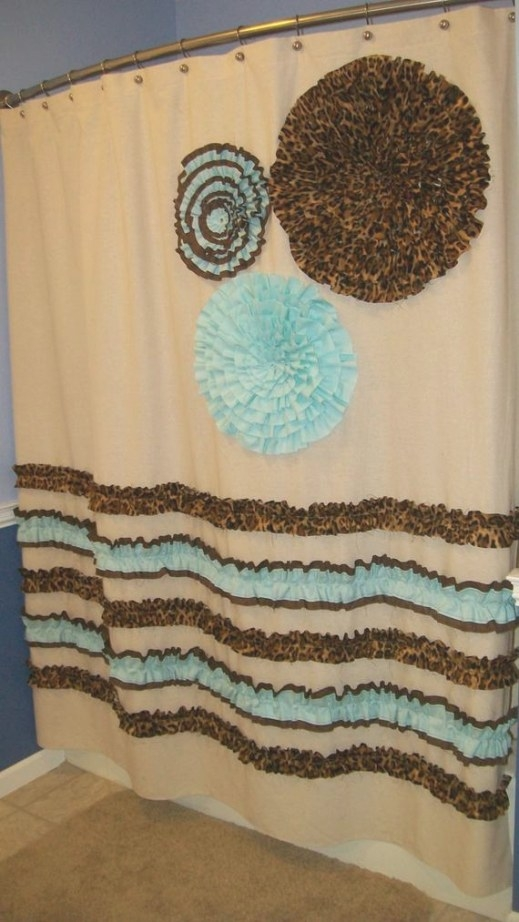 Items Similar To Shower Curtain Custom Made Designer inside Turquoise And Brown Bathroom