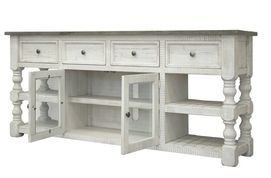 Jade Distressed White 80 Inch Tv Stand With Grey Wood Top within 80 Inch Tv Stand