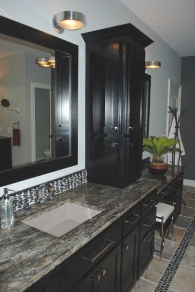 Java Cabinets, Crown Moulding And Framed Mirrors with regard to Crown Moulding In Bathroom