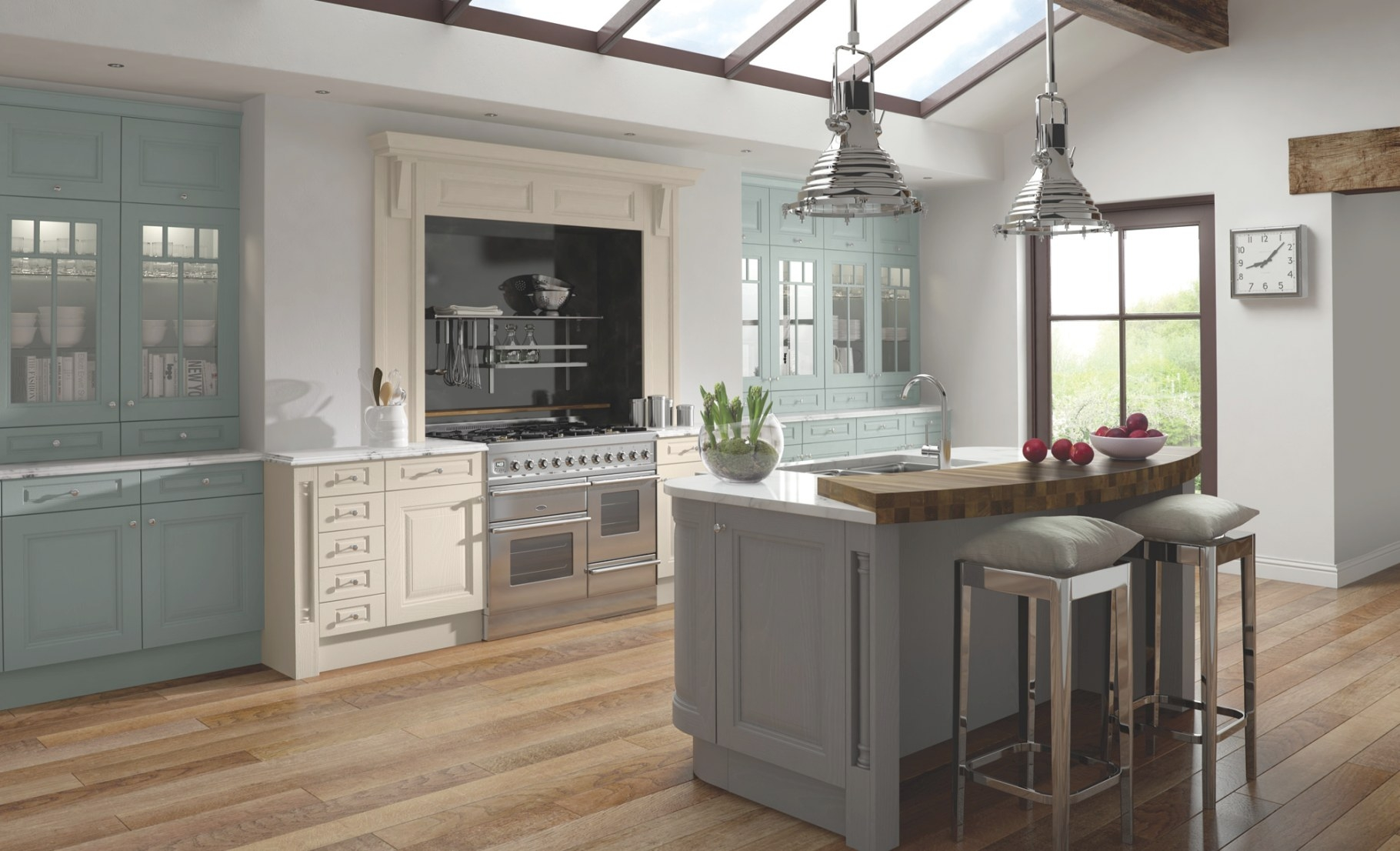 Jefferson Ivory, Powder Blue & Dust Grey pertaining to Blue And Grey Kitchen