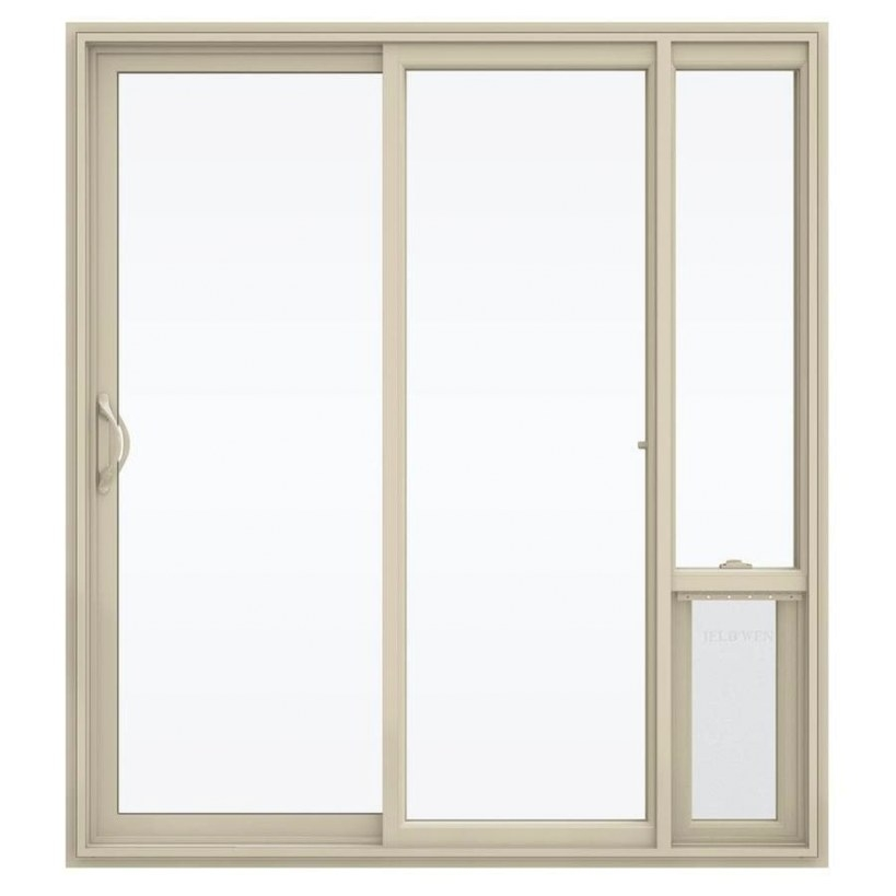 Jeld-Wen Clear Glass Almond Vinyl Left-Hand Sliding Double inside Exterior Door With Built In Pet Door Lowes