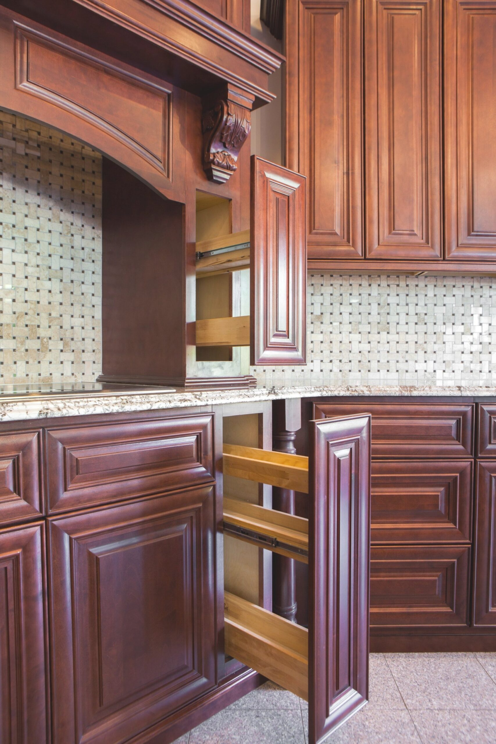J&K Traditional Mahogany Cabinets. Style (J5) | Spice Rack in J & K Cabinetry