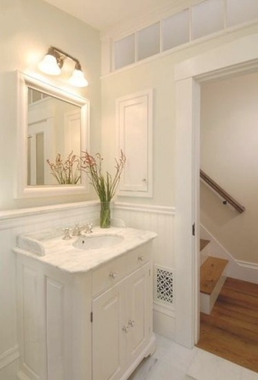 Jll Design: What To Do With The Powder Room? in Cream And White Bathroom