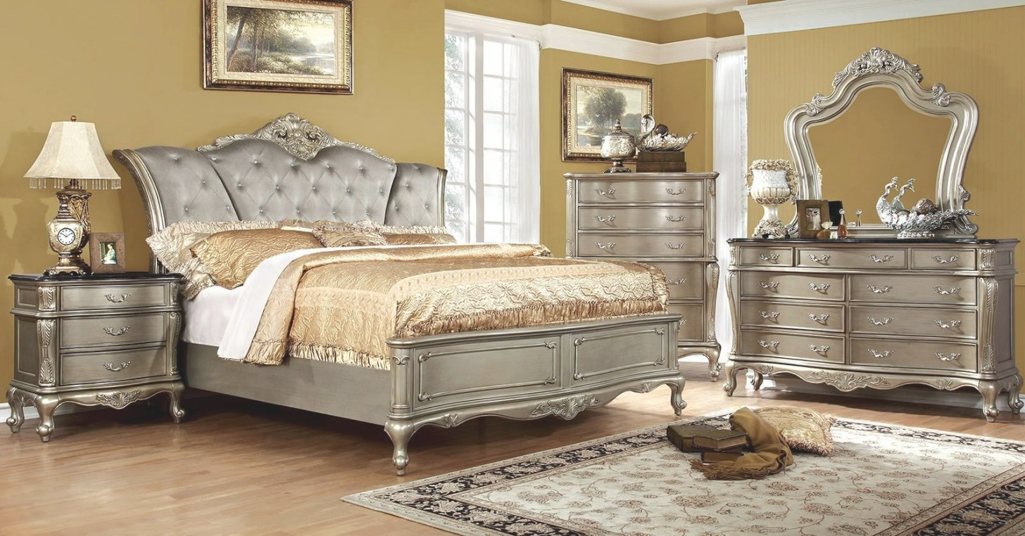 Johara Gold Upholstered Bedroom Set From Furniture Of in Silver And Gold Bedroom