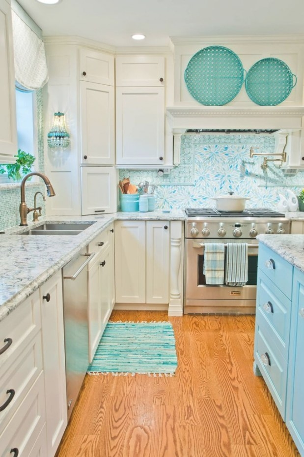 Kevin Thayer Interior Design (House Of Turquoise) | Beach pertaining to Teal And White Kitchen