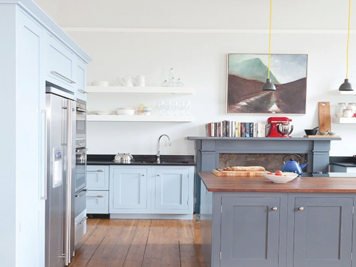 Kitchen Island Design Ideas, Gray And White Kitchens Blue within Blue And Grey Kitchen