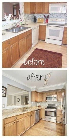 Kitchen Remodel - Before And After # with Update Brown Cabinets In Kitchen