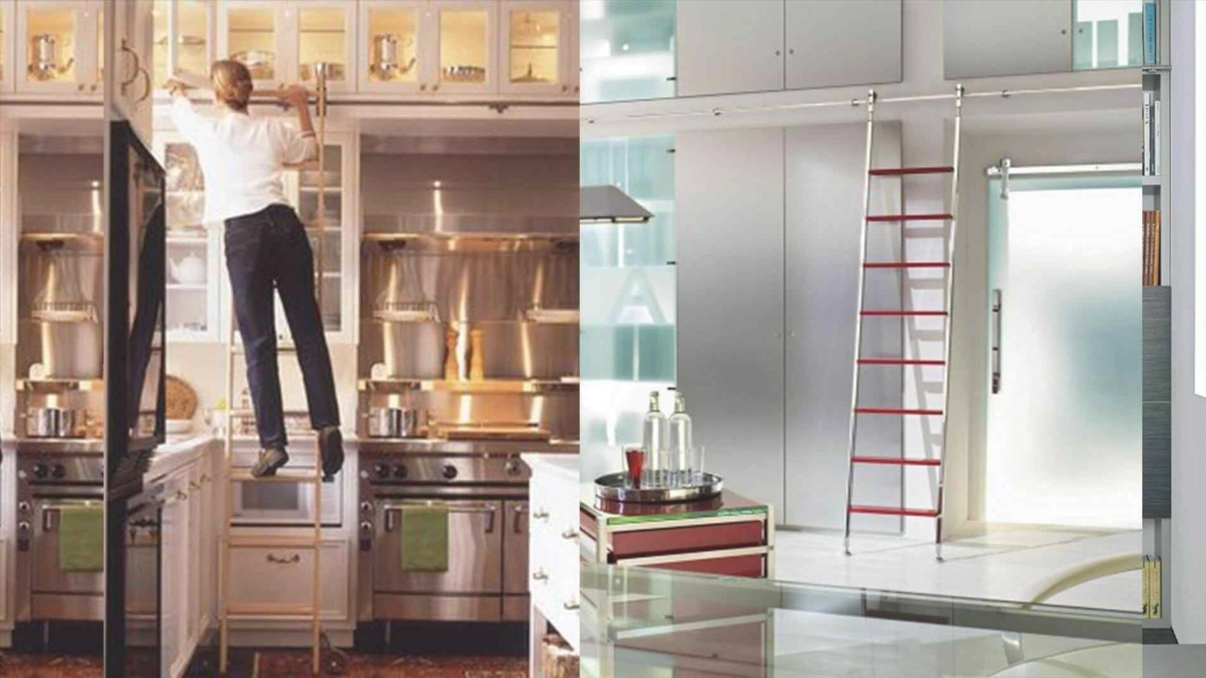 Kitchen Rolling Ladder | Sofa Cope throughout Library Ladder In Kitchen