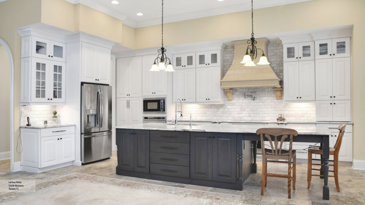 Kitchen With White Cabinets And A Gray Island - Omega pertaining to White And Gray Kitchens