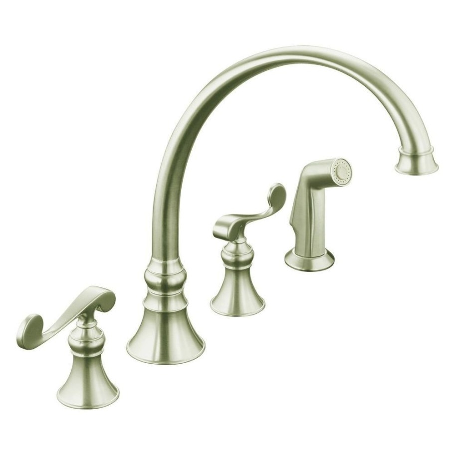 Kohler Revival 4-Hole 2-Handle Standard Kitchen Faucet In for Brushed Nickel Kitchen Faucet