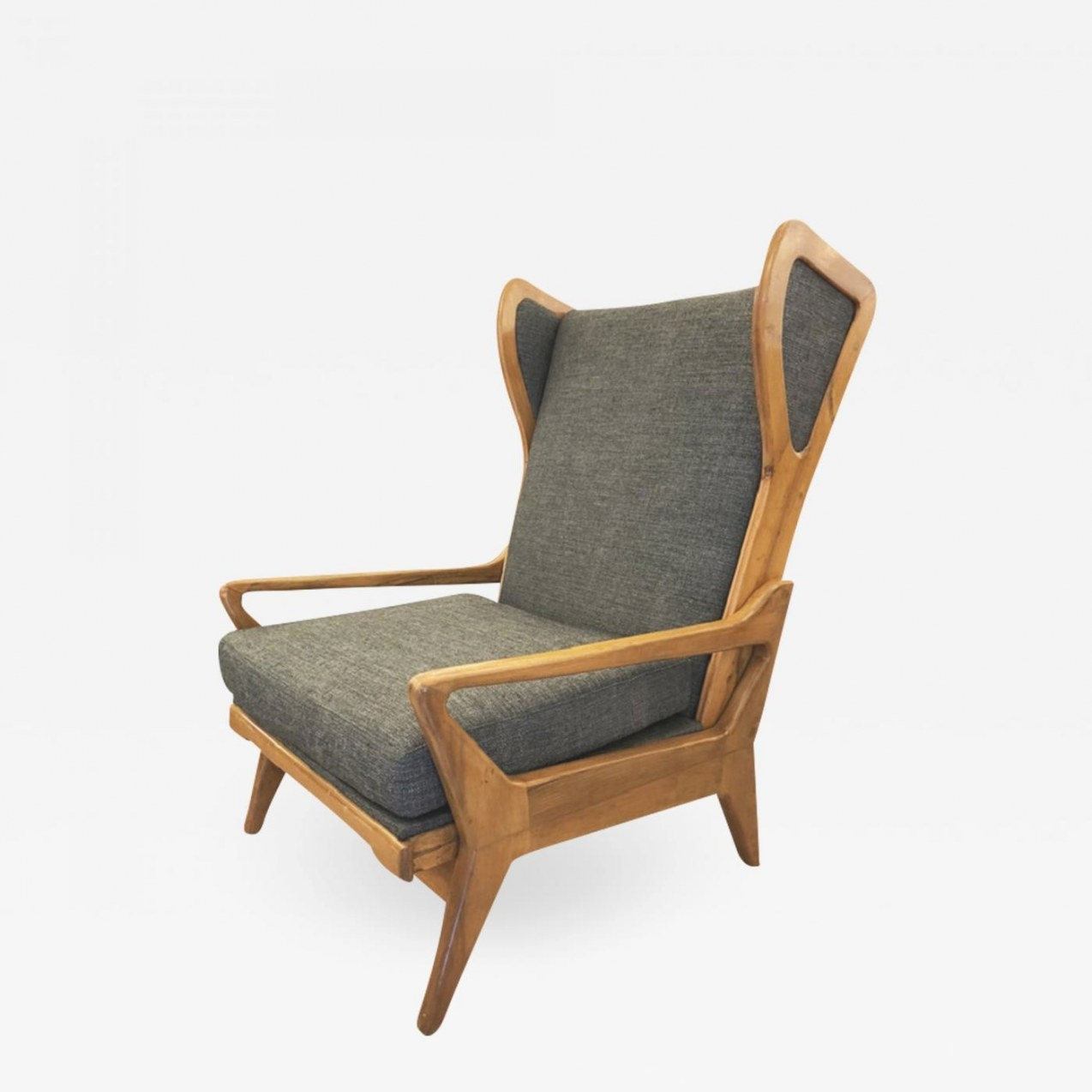 Large Mid-Century Lounge Chair With Walnut Frame throughout Mid Century Lounge Chair