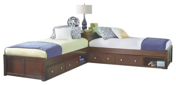 Larkin L-Shape Extra Long Twin Size Corner Bed in Extra Long Twin Bed