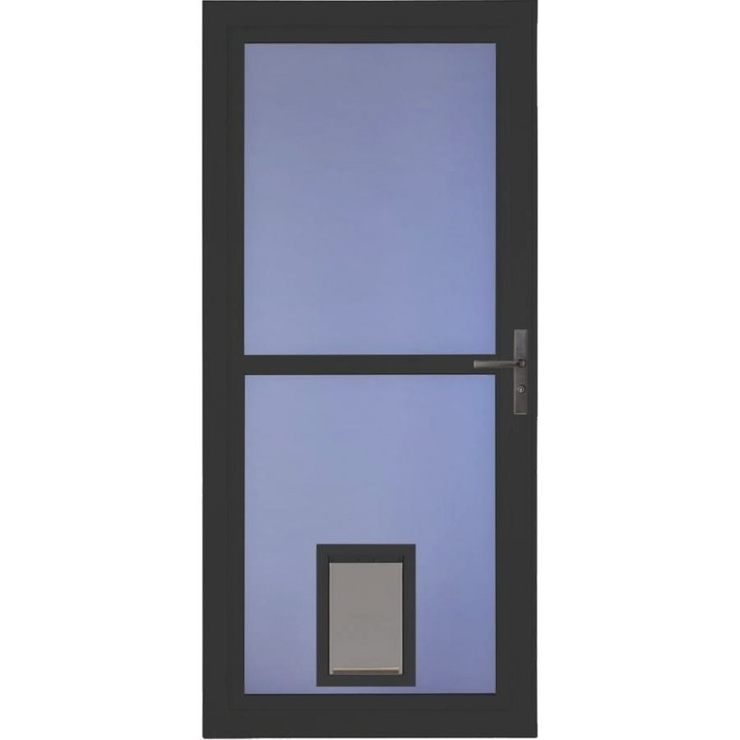 Larson Tradewinds Pet Door Black Full-View Aluminum Storm regarding Exterior Door With Built In Pet Door Lowes