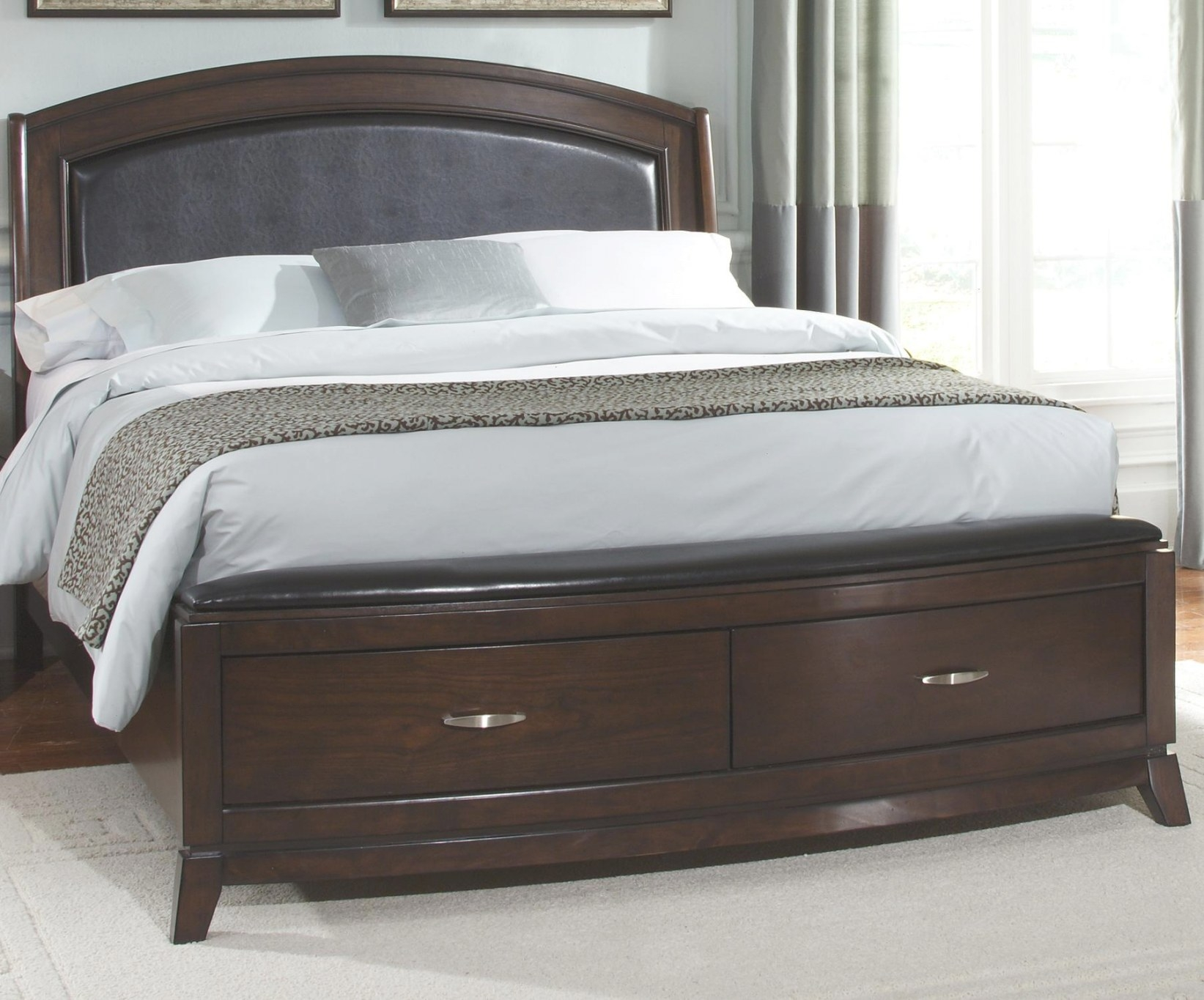Liberty Furniture Avalon 505-Br-Qsb Queen Platform Leather in Queen Bed With Storage