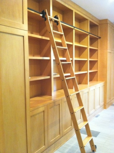 Library Cabinets With Rolling Library Ladder - Modern intended for Library Ladder In Kitchen