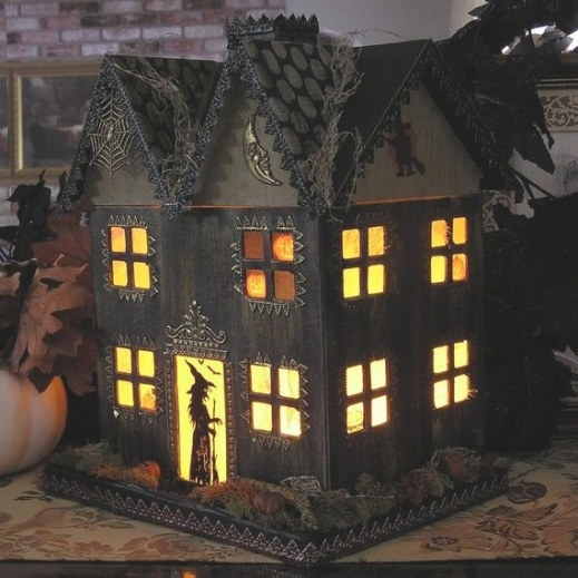 Light Up Haunted House Paper Mache Halloween Folk with regard to Light Up My Home
