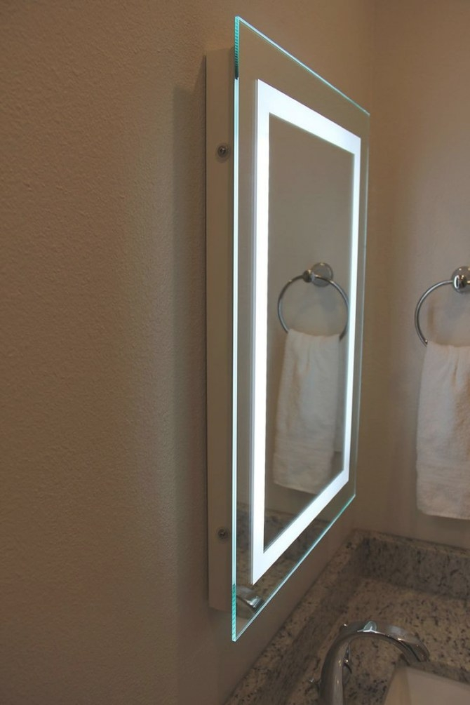 Lighted Image - Led Bordered Illuminated Mirror, $200.00 pertaining to Led Lighted Mirrors Bathrooms