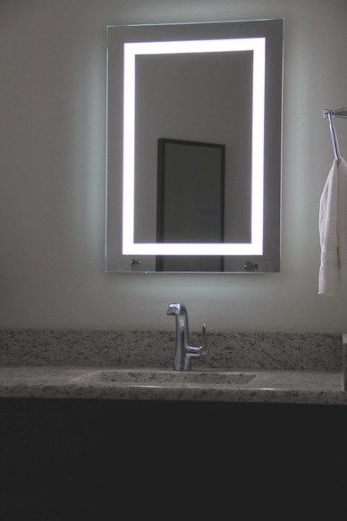 Lighted Image - Led Bordered Illuminated Mirror - Large regarding Led Lighted Mirrors Bathrooms