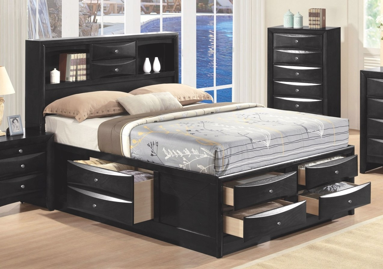 Limerick Transitional 4-Pc Storage Queen Platform Bed In in Queen Bed With Storage
