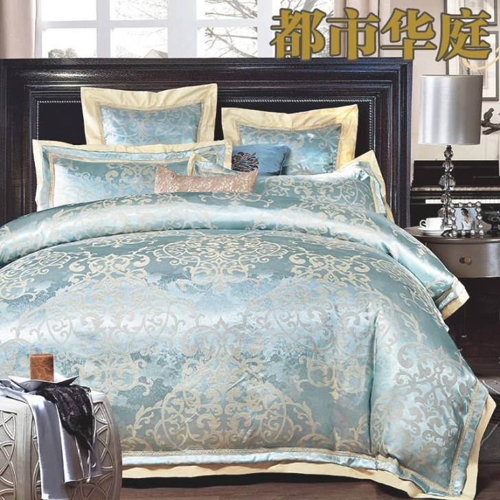 Luxury Jacquard Silk/Cotton Bedding Set Queen King Size 4 regarding What Size Washer Do I Need For A King Size Comforter