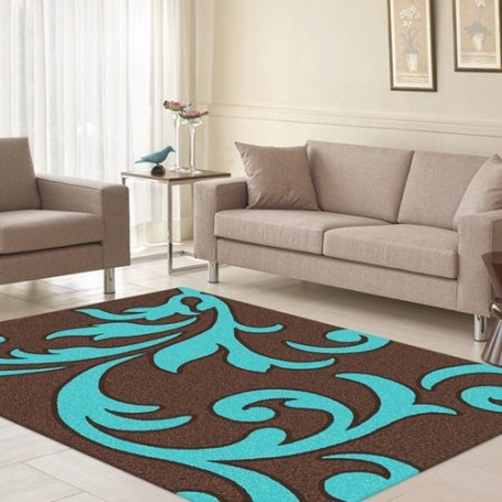 Majestic Carving Brown And Turquoise Contemporary Rug for Turquoise And Brown Bathroom
