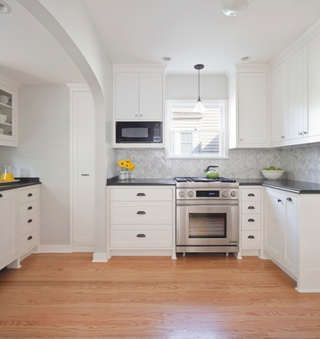 Marble Herringbone Tiles - Transitional - Kitchen intended for Benjamin Moore Paper White