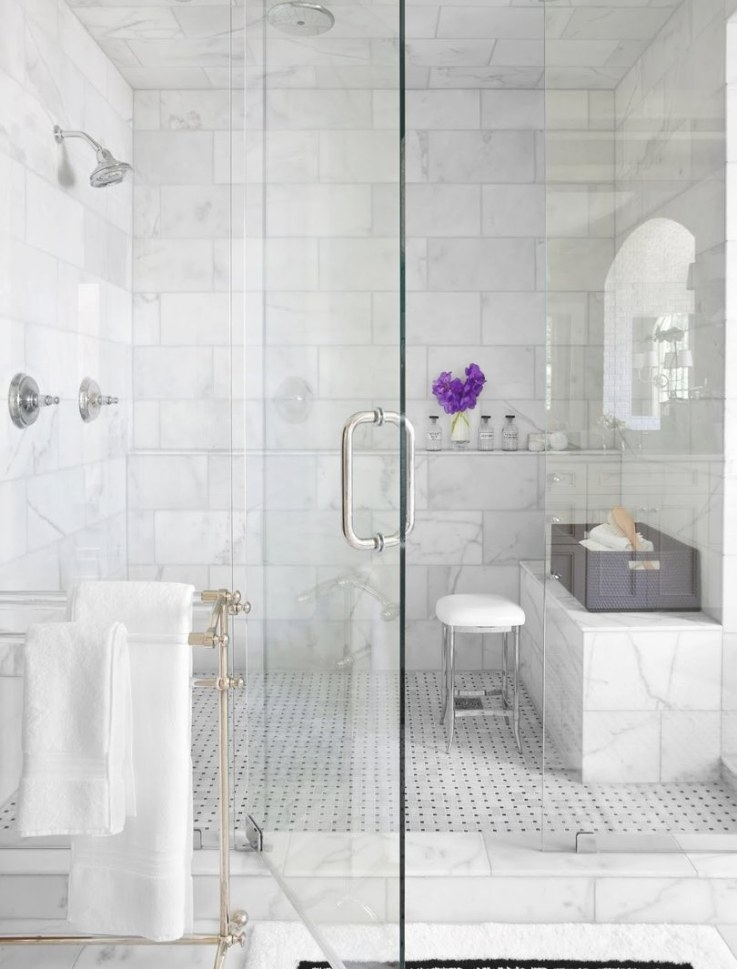 Marble Shower Bathroom Traditional With Glass Wall And within White Marble Tile Bathroom